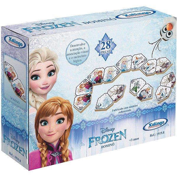 Jogo De Dominó Frozen Em Madeira 28 peças Xalingo