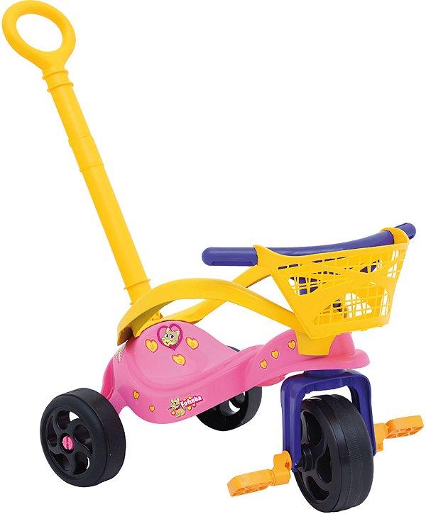 Triciclo Fofinha Com Empurrador Proteção e Cesta - Xalingo