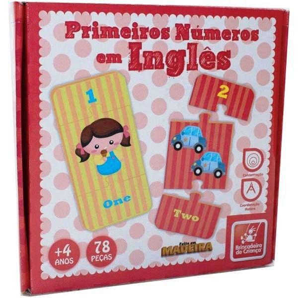 Brinquedo Educativo - Primeiros Números em Inglês de Madeira - Brinc. de Criança