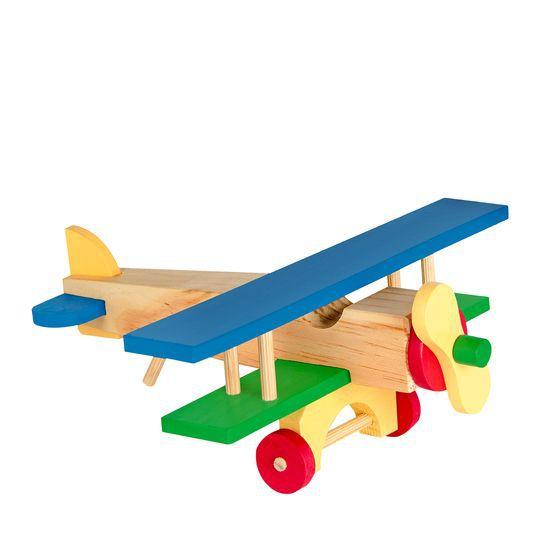 Brinquedo Avião de Madeira 17 Pçs - Carlu