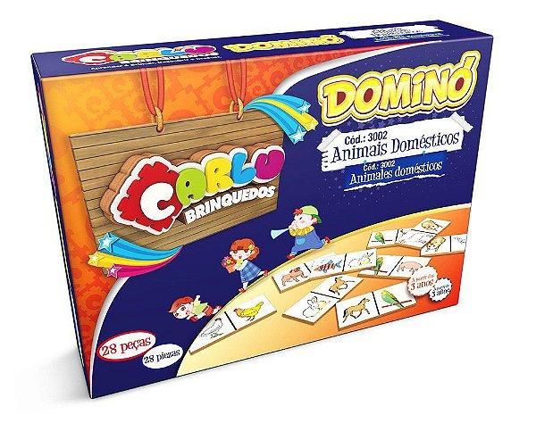 DOMINÓ ANIMAIS DOMÉSTICOS EM MDF - 28 PEÇAS