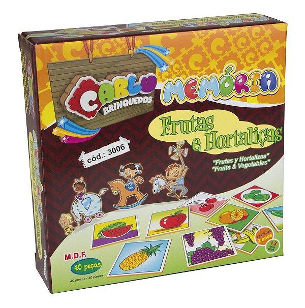 Memória Frutas E Hortaliças - MDF - 40 Pçs