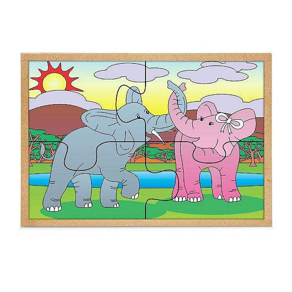 Quebra Cabeça Casal De Elefantes 4 Pçs -  Base MDF