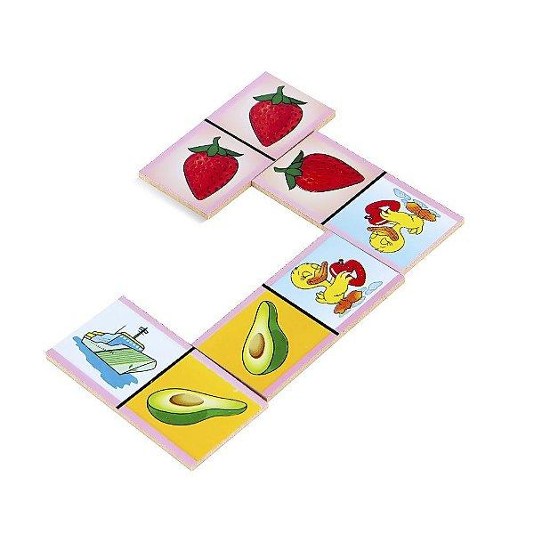 Dominó Figuras e Frutas em MDF 28 peças e caixa em madeira