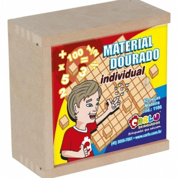 Brinquedo Educativo Material Dourado Individual 62 Peças