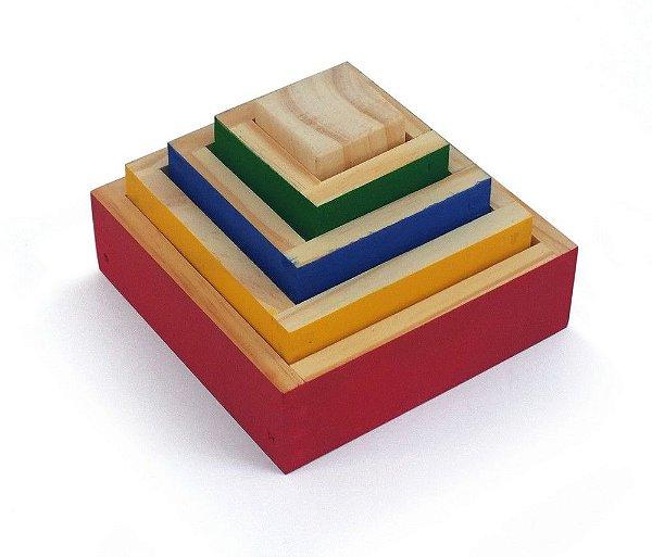 Cubos de Encaixe ( 5 cubos de madeira )
