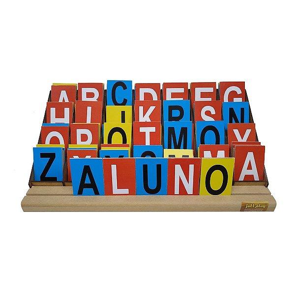 Alfabeto Degrau - 84 letras Coloridas em Mdf