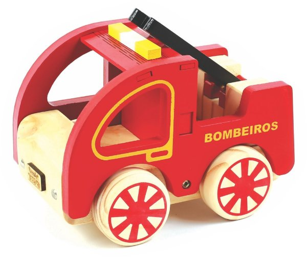 Coleção Carrinhos Bombeiro De Madeira  NewArt Toys