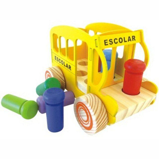 Onibus Escolar Bondinho de Encaixe brinquedo pedagógico
