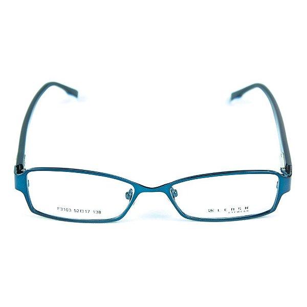 Armação para óculos de grau em metal Lensk F3103 Azul