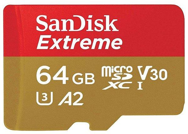 Cartão De Memória 64gb Micro Sd Xc Sandisk Extreme A2 160mb/s