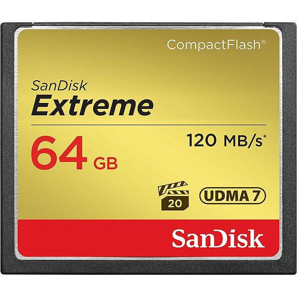 Cartão de Memória 64gb Compact Flash Sandisk CF Extreme 120mb/s