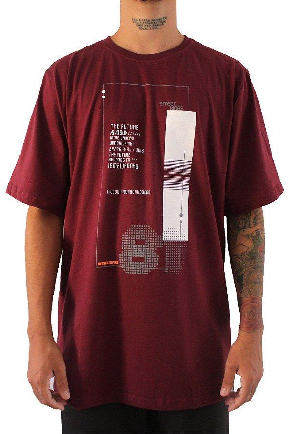 Camisa Masculina Vandalism81 NUMERAL WINE
