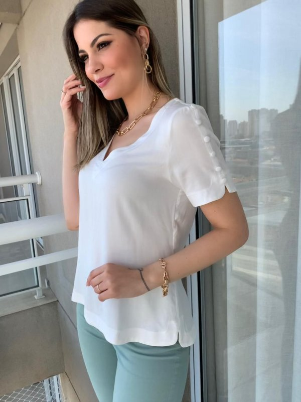 Blusa em Viscose Tiffany Off-White