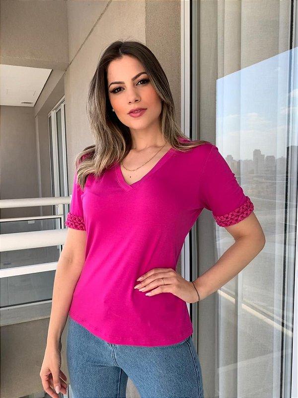 T-shirt Manga Corrente Lourdes Pink