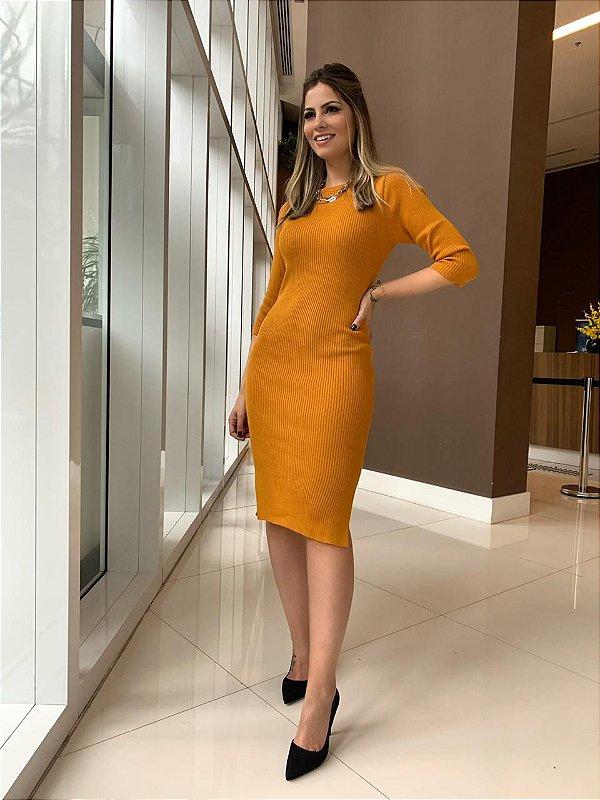 Vestido Tricô Helen_Mostarda