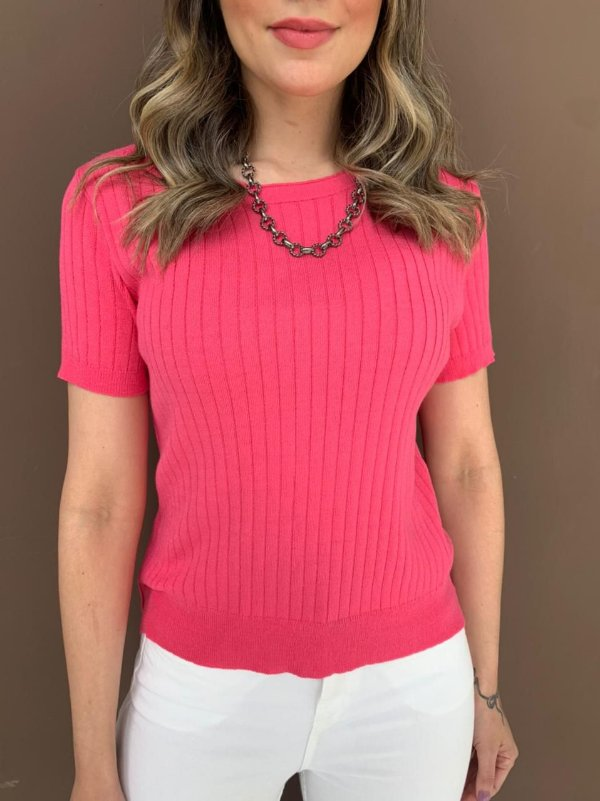 Blusa de Tricô Canelado Isabel Pink
