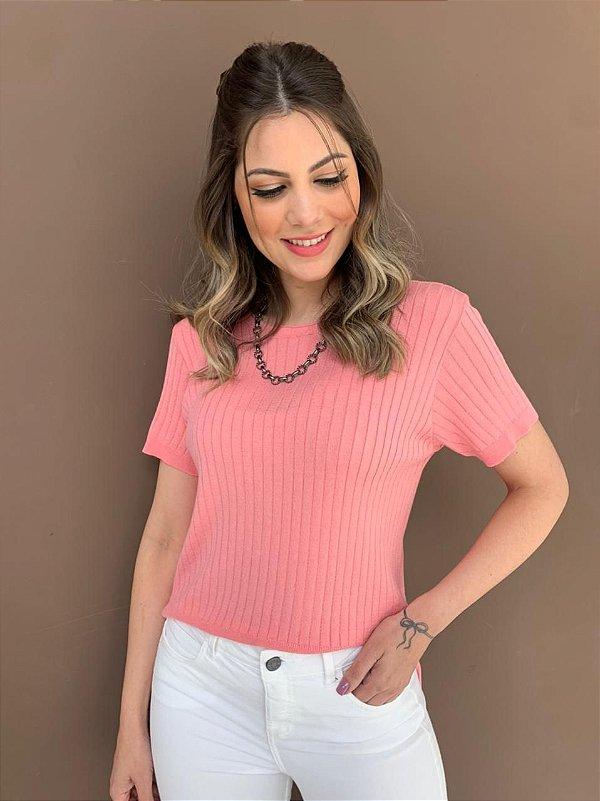 Blusa de Tricô Canelado Isabel Rosa