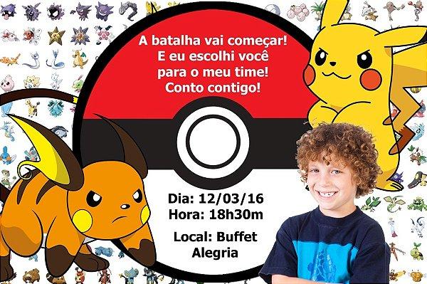 Convite digital personalizado Pokemón com foto 002