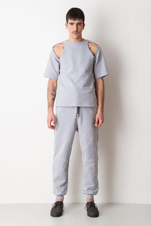 T-shirt Moletom com recorte ombro Mescla