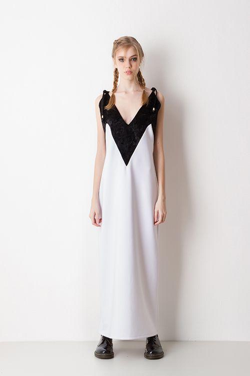 Vestido Longo Slip Dress Preto e Branco