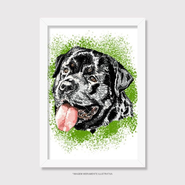 Quadro Rottweiler Cara Preta Pintura Digital