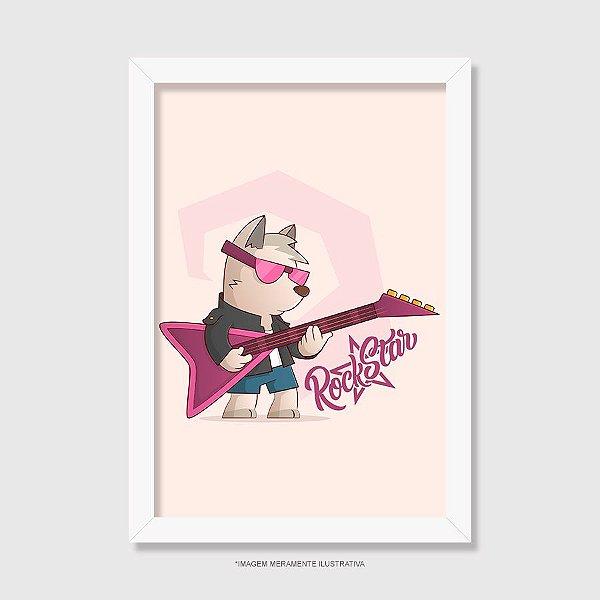Quadro Cachorro Rock Star