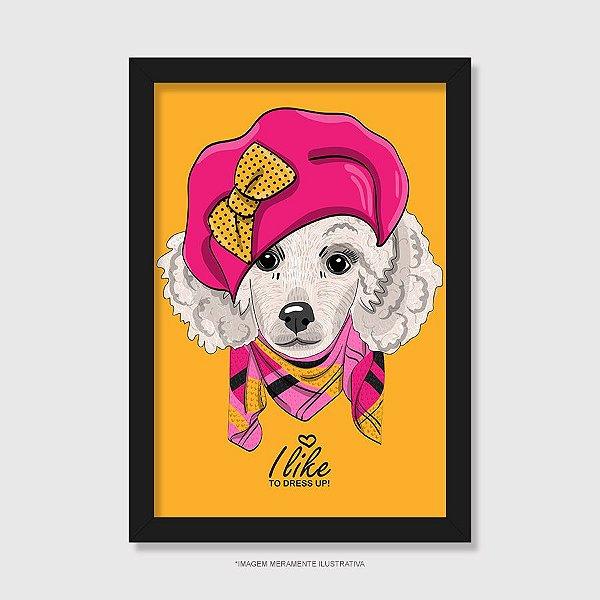 Quadro Poodle Fêmea I Like To Dress Up - Modelo 1