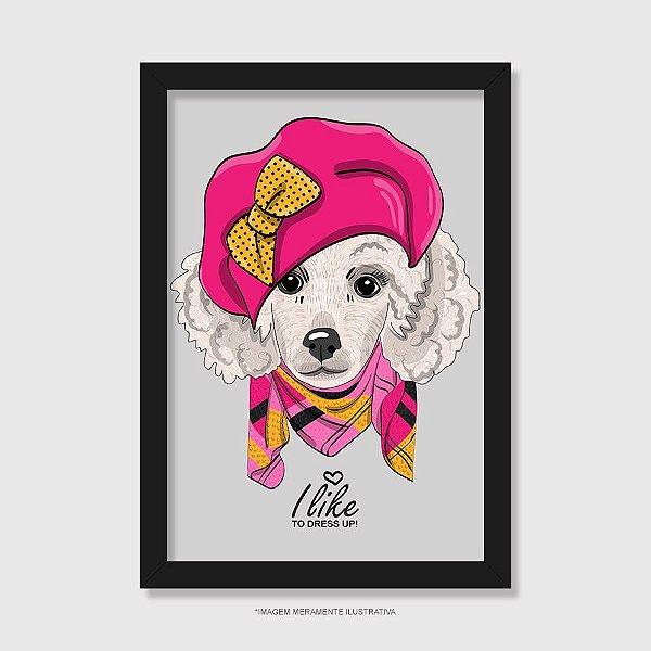 Quadro Poodle Fêmea I Like To Dress Up - Modelo 3