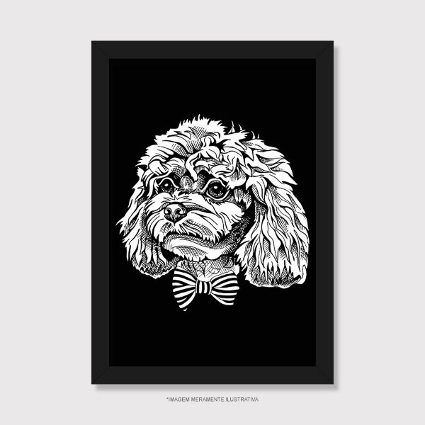 Quadro Poodle de Gravatinha Borboleta - Modelo 1