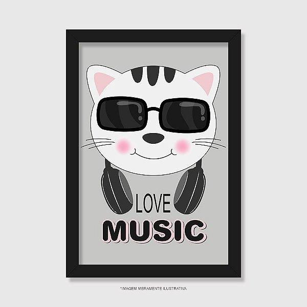 Quadro Gato Love Music - Modelo 1