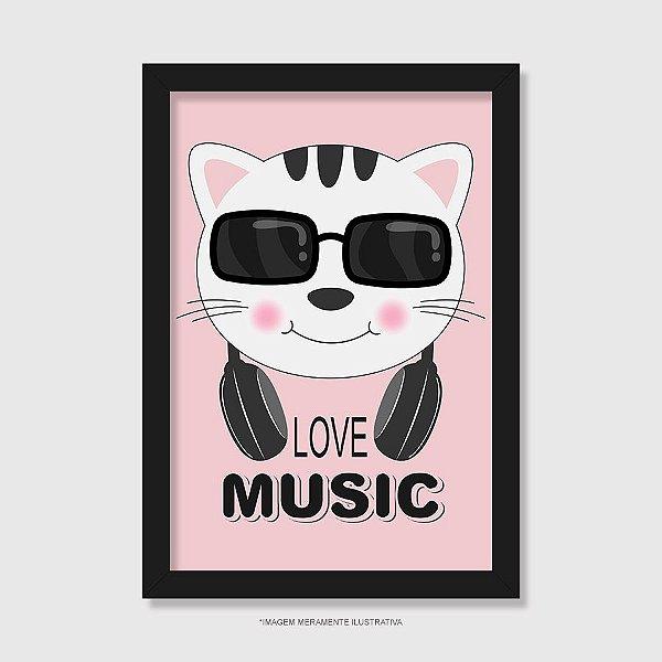Quadro Gato Love Music - Modelo 2