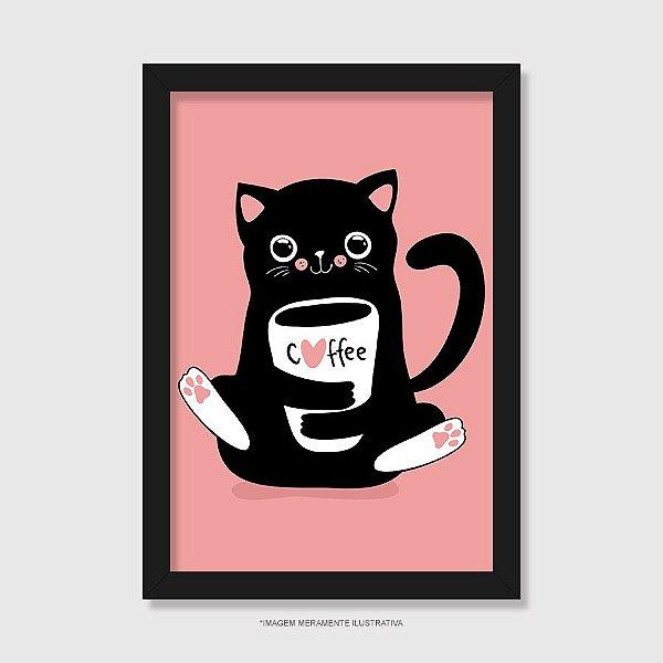 Quadro Gato Preto Café - Modelo 2