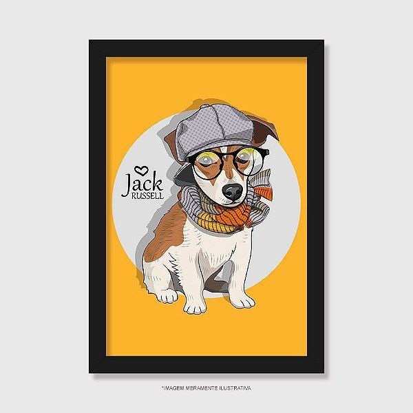 Quadro Jack Russell de Óculos e Cachecol - Modelo 3