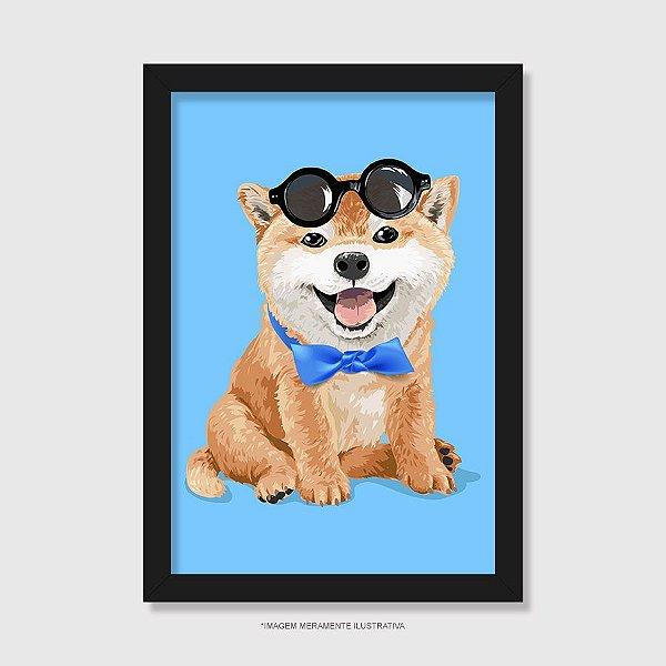 Quadro Akita Filhote de Óculos e Gravatinha - Modelo 2