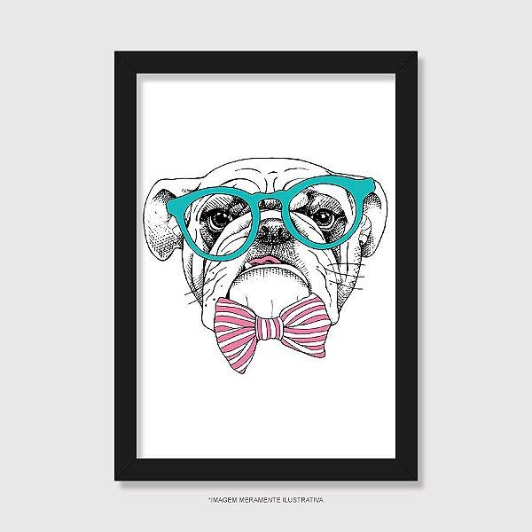 Quadro Bulldog Inglês de Óculos e Gravatinha - Modelo 1