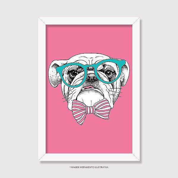 Quadro Bulldog Inglês de Óculos e Gravatinha - Modelo 4