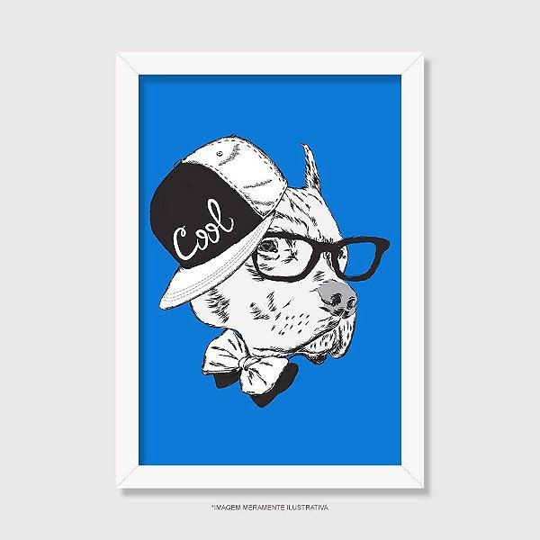 Quadro Pitbull de Boné e Óculos - Modelo 3