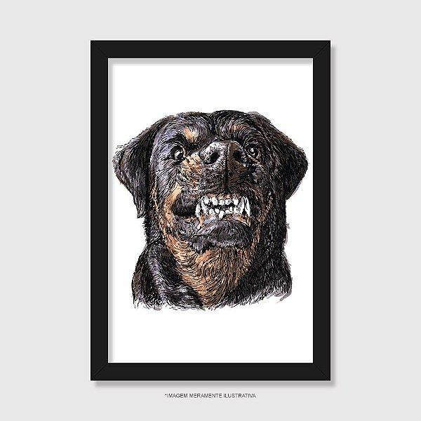 Quadro Cachorro Rottweiler Bravo - Modelo 1
