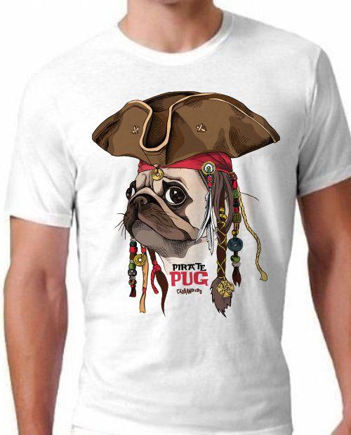 Camiseta Cachorro Pug Pirata