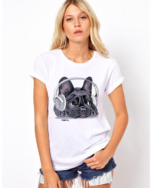 Camiseta Baby Look Bulldog Francês Ouvindo Música