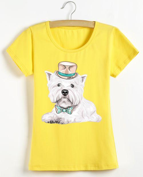 Camiseta Baby Look Westie de Gravata e Chapéu