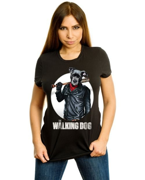 Camiseta Baby Look Cachorro The Walking Dog