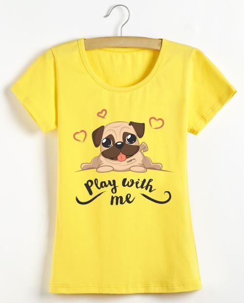Camiseta Baby Look Pug Play With Me
