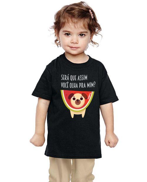 Camiseta Infantil Cachorro Melancia - Será Que Assim Você Olha Pra Mim?