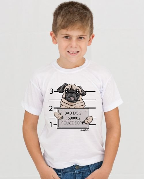 Camiseta Infantil Pug Bad Dog