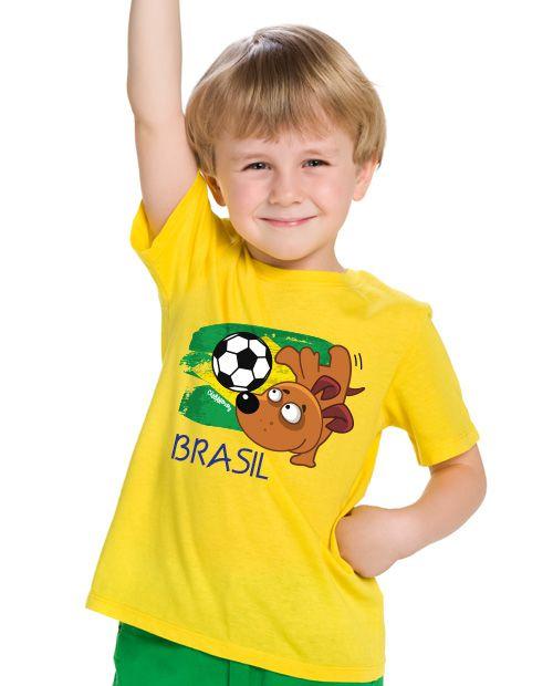 Camiseta Infantil Brasil - Cachorro Jogador