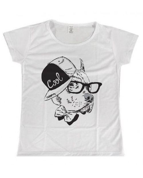 Camiseta Baby Look Pitbull - Cachorro de Boné e Óculos
