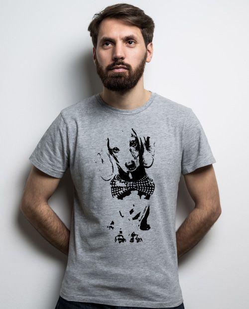 Camiseta Dachshund de Gravatinha em Preto e Branco