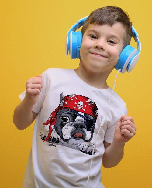 Camiseta Infantil Bulldog Francês Pirata